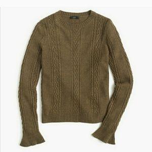 J.CREW ruffle cuff cable knit wool blend sweater L